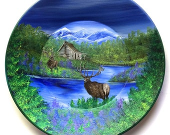Hand Painted 11 Inch Gold Pans Mountain Summer Log Cabin and ELK