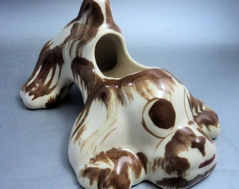 Kitsch Vintage Ceramic Dog Planter