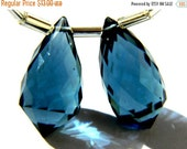 20%off. Matched Pair AAA London Blue Quartz Faceted Fancy Briolette Size 10x20mm Approx.