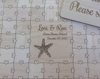 60 pcs Beach Wedding Guest Book Puzzle Custom Puzzle with Heart Tabs