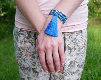 Tassel Bracelet, Cobalt Blue Anchor Charm Bracelet, Sapphire Tassel Boho Bracelet, Minimalist Jewelry, Turquoise Colors Boho Women Bracelet
