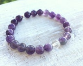 Amethyst & Clear Quartz Wisdom, Balance Bracelet - 6th and 7th Chakra Energy - ZEN by Karen Moore crystal gemstone jewelry