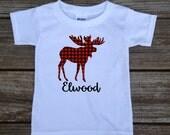 Personalized Moose Birthday Shirt Red Black Buffalo Plaid Rustic Woodland Outdoor Lumberjack Tshirt/Bodysuit in White, Grey, Blue, Pink