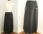 1910s skirt | vintage edwardian black wool skirt