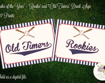 "PRINTABLE Baseball Themed Drink Signs - ""Rookie & Old Timers"""