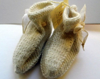 Baby, booties, boots, shoes, white shoes, baby, wool, leather,