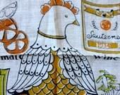 Vintage CHP California Hand Print Tea Towel EUC