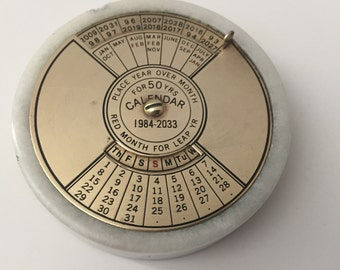 Vintage Fifty Year Calendar Marble Paper Weight 1984-2033