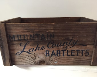 Vintage Wood Crate Mountain Lake Country Bartlett Wood Fruit Box Bin
