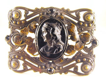 Cameo Brooch Jet Black Glass Victorian Mourning Jewelry Gilt Brass Metal Mount Very Steam Punk Etrusceana Etruscan Revival OLD Piece