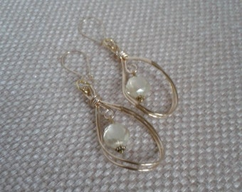 Gold Wired Teardrop Connector with Round Irredesant Crystal Dangle Earring and Gold Kidney Ear Loop Jewelry