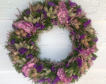 Soft pink and purple dried flower spring wreath