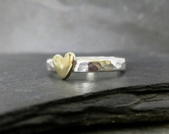 Little Sweetheart mid stacking ring - sterling silver ring, solid 9ct 9k 14ct 14k gold heart, UK, custom made, hand made, jewellery