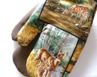 Deer Oven Mitts, Father's Day Gift, Deer Hunter Buck Hunting Woodland Rustic Country Oven Mitts, Deer Buck Pot Holders