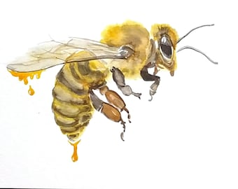 Original Honey Bee Watercolor painting / Nursery Decor/ Bee Art/