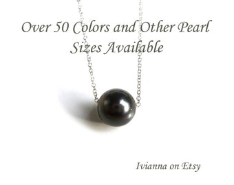 "Black Pearl, Single Black Pearl Necklace in Sterling Silver, Black Pearl Choker, Bridesmaid Black Pearl, Black Floating Pearl 16"" - 18"""