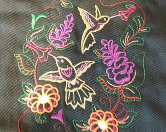 Embroidered Cotton Canvas Utility Tote Bag with Hummingbird Design