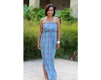 ON SALE 20% Blue Chevron Dress for Women, Maxi Dress, Casual summer dress
