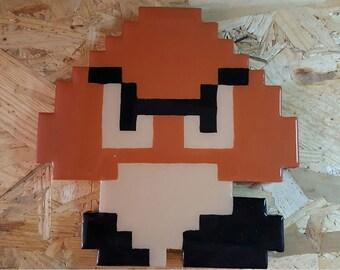 Wooden 8 Bit Game Art NES Nintendo Goomba Super Mario Brothers - The 3A Workshop