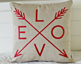 Love Arrow Pillow Cover, Valentine's Day, Wedding, Choice of Fabric and color, 16x16 or 18x18