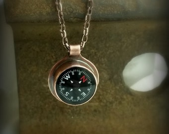 "Copper bezel set compass necklace, engraved ""So you will always find your way home"" by RECREATE4U"