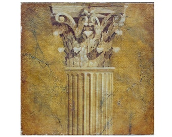 Large Fresco Corinthian Capital Neo Classical Grecian Roman Architecture Trompe l'Oeil