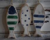 Handmade Rustic Vintage Look Holiday Wood Fish Ornaments, Set of 3