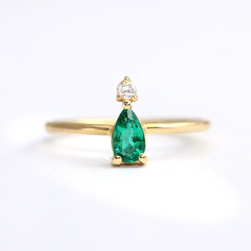 pear emerald ring emerald engagement ring dainty emerald