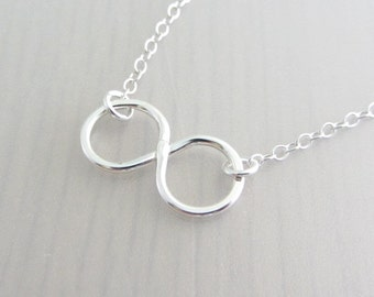 Sterling Silver Infinity Charm Necklace, Sterling Silver Eternity Necklace, Sterling Silver Infinity Necklace, Valentine Gift