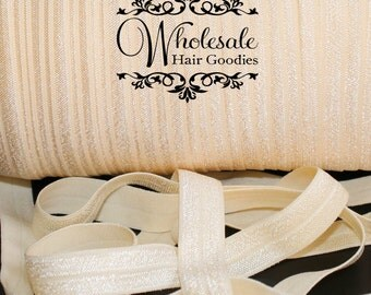 Fold Over Elastic - BUTTERMILK 5/8 Inch Fold Over Elastic - FOE - Foldover Elastic - Diy Headband & Hair Ties