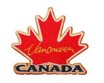 """Canada """"Vancouver"""" Maple Leaf Patch BC City Travel Souvenir Iron-On Applique"""
