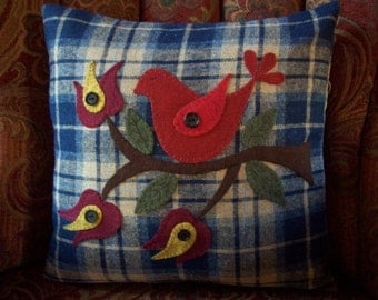 Folk Art Red Bird on Blue and Tan Wool Plaid Pillow Slipcover