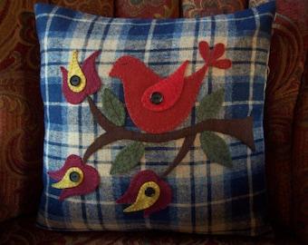 Folk Art Red Bird on Blue and Tan Wool Plaid Pillow Slipcover