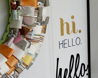 HELLO vinyl front door decal