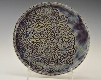 Stoneware serving tray, pottery horderve plate, ceramic sushi dish, stoneware trinket tray