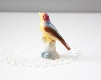 Bird Figurine, Yellow, Pink and Blue in Royal Copley Style