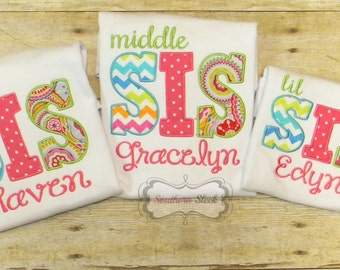 Set of 3 Sister Embroidered Shirts or Bodysuits