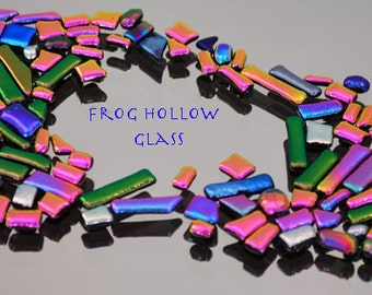 Dichroic Mosaic Bits & Pieces, Small Tiles, Mosaic Glass Tiles, Purple, Pink and Silver Tiles