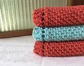 set of three hand knit kitchen cloths