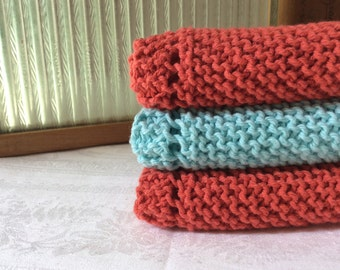 set of three hand knit kitchen cloths