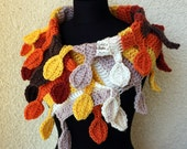 CROCHET PATTERN Scarf Autumn Leaves, DIY Crafts, Gift, Easy Crochet Pattern, Chunky Scarf, Instant Download Lyubava Crochet Pattern Pdf No.9