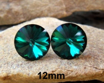 Emerald Earrings, 12mm Crystal Studs, Swarovski, Rivoli Stud Earrings, Emerald Studs, Green Crystal Studs, May Birthstone, Surgical Studs