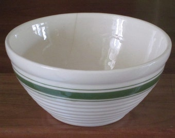Vintage 7.5 Inch Green Striped Pottery Mixing Bowl Oven Proof USA