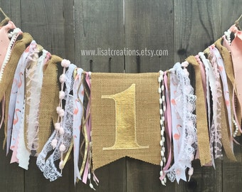 1st Birthday High Chair Banner with Streamers // Gold // Burlap and Lace // Flamingo