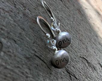 Om earrings hand stamped silver yoga earrings jewelry for peace