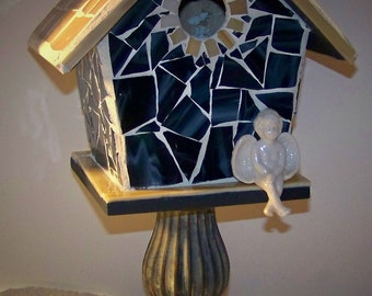 "Stainglass mosaic birdhouse  ""Angel Watching"""