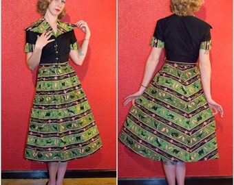 1950s Novelty Print Dress Mode O'Day Animal Print Shirtwaist Small