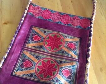 Vintage Painted Leather Tote, Purse, Bag, Braided Handle, Lotus, Stamped, Red