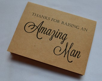 Thank you for raising an AMAZING MAN in-law thank you card wedding card in law card kraft thank you cards inlaw card thank you parent card