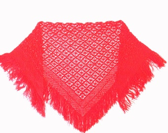 Triangular crochet lace shawl wrap,red lace neck warmer,crochet lace pareos,red shawl wrap,fashion accessory,bohemian clothing,romantic gift
